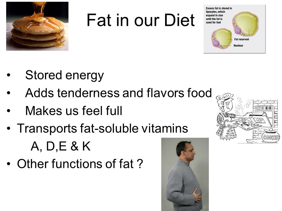 Fat in our Diet Stored energy Adds tenderness and flavors food