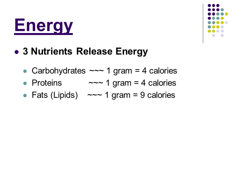 Energy 3 Nutrients Release Energy