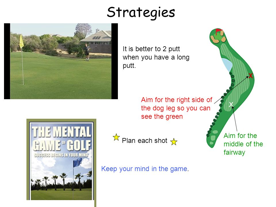 Strategies It is better to 2 putt when you have a long putt. X