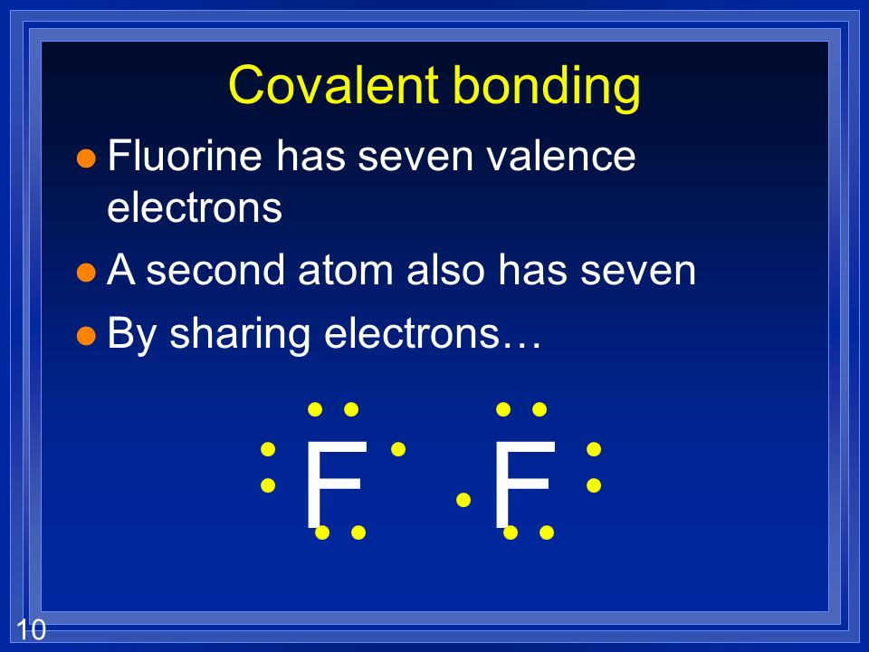 F F Covalent bonding Fluorine has seven valence electrons