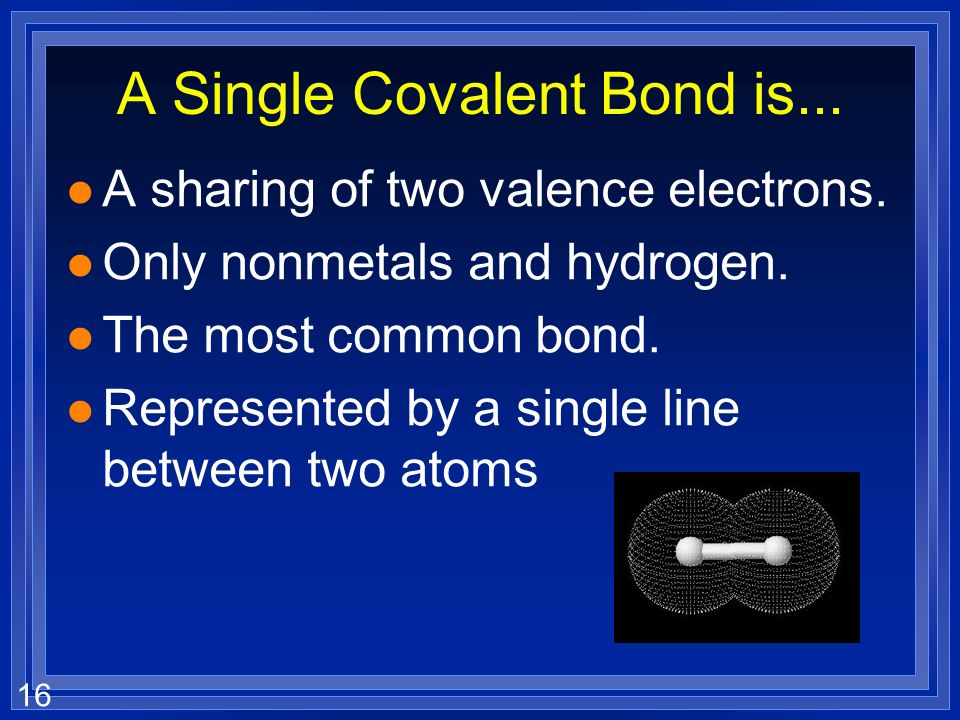A Single Covalent Bond is...
