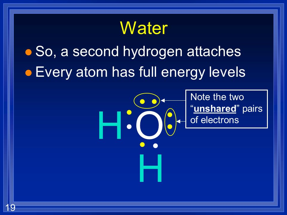H O H Water So, a second hydrogen attaches