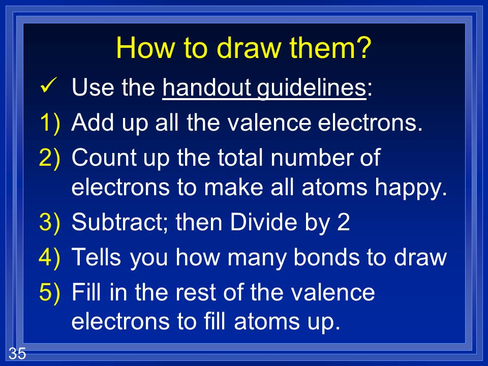 How to draw them Use the handout guidelines: