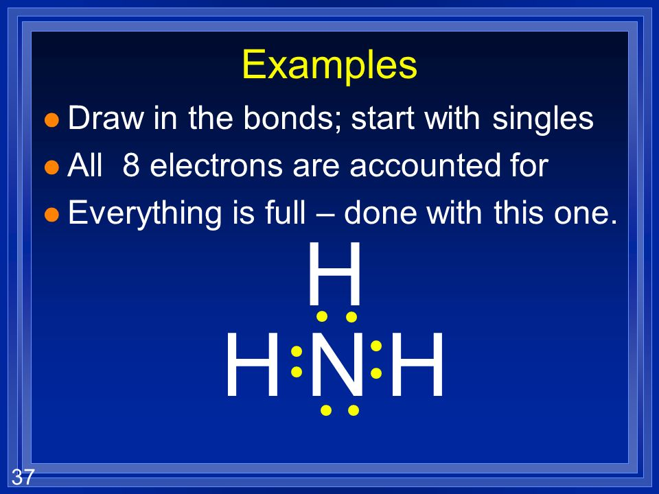 H H N H Examples Draw in the bonds; start with singles