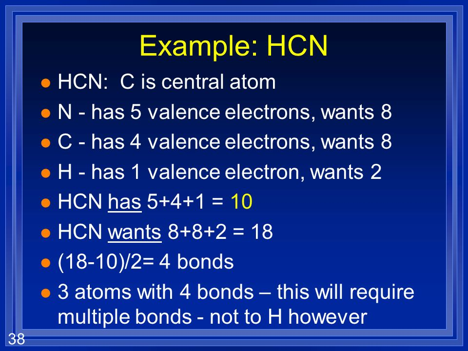 Example: HCN HCN: C is central atom