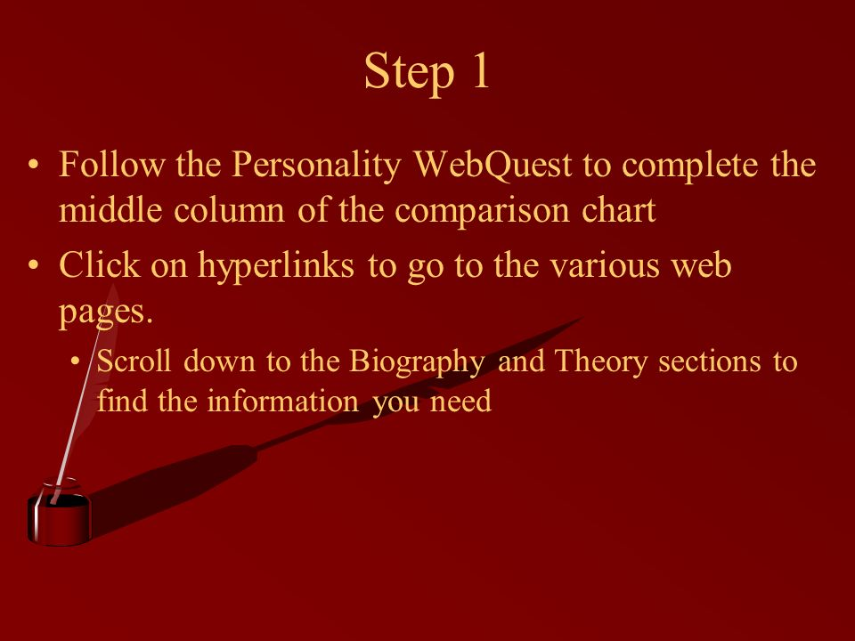 Step 1 Follow the Personality WebQuest to complete the middle column of the comparison chart. Click on hyperlinks to go to the various web pages.