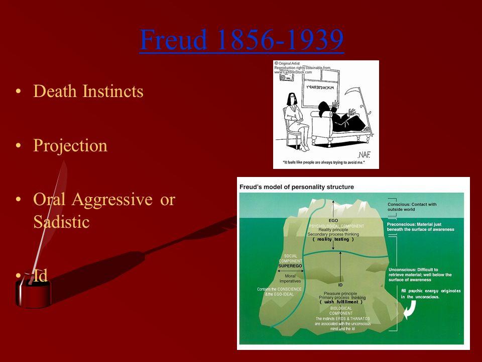 Freud 1856-1939 Death Instincts Projection Oral Aggressive or Sadistic