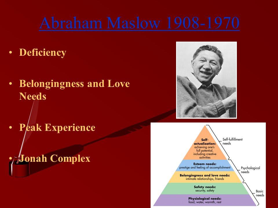 Abraham Maslow 1908-1970 Deficiency Belongingness and Love Needs