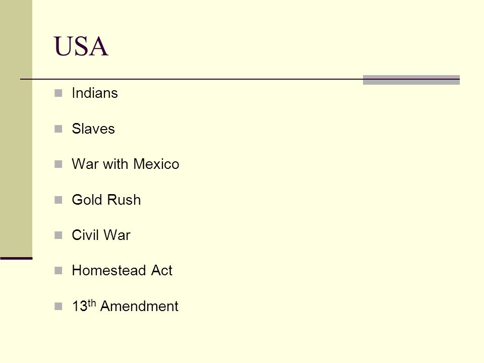USA Indians Slaves War with Mexico Gold Rush Civil War Homestead Act
