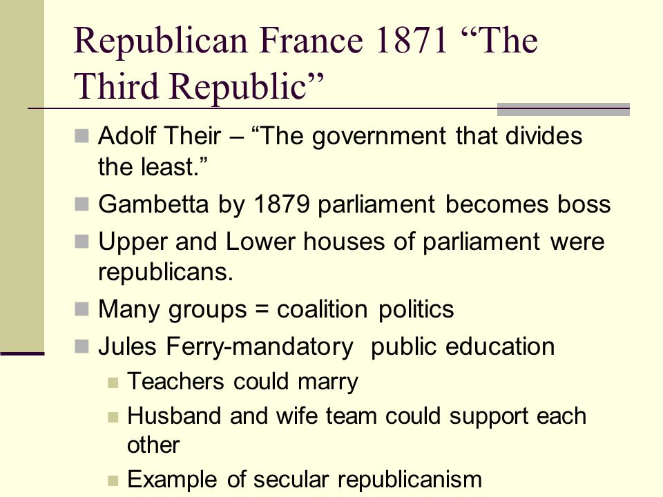 Republican France 1871 The Third Republic