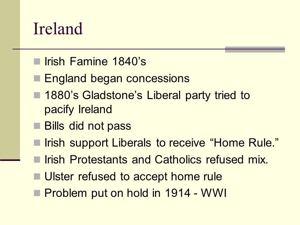 Ireland Irish Famine 1840's England began concessions