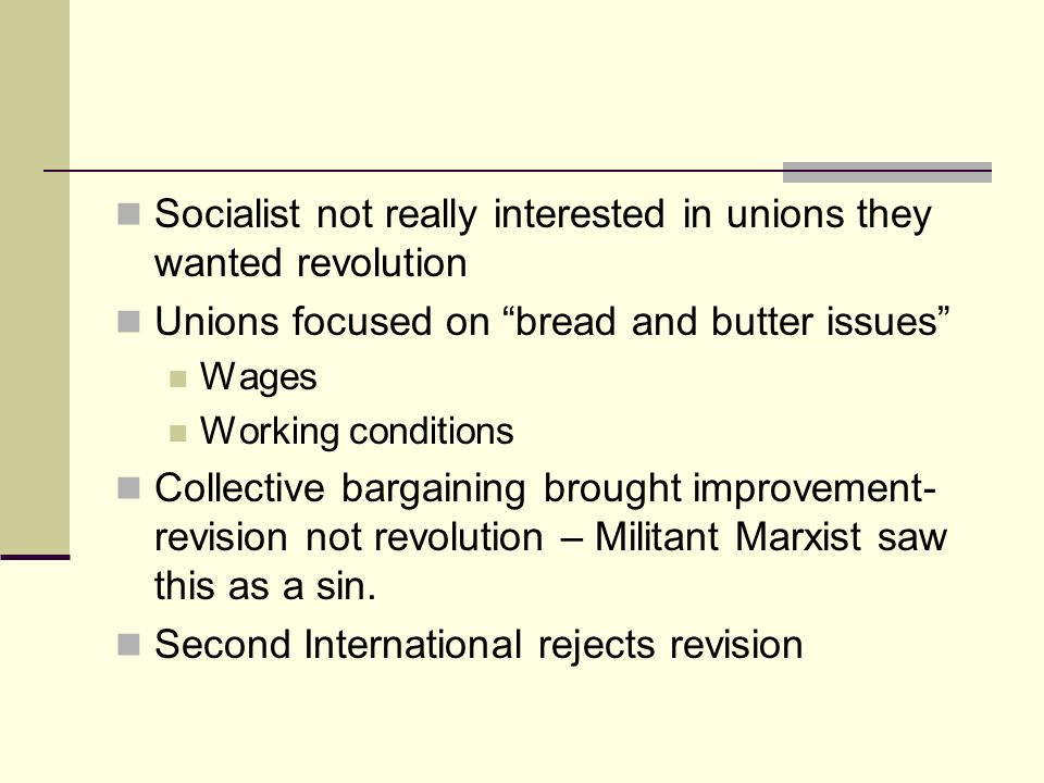 Socialist not really interested in unions they wanted revolution