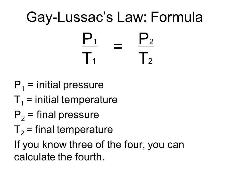 Gay-Lussac's Law: Formula