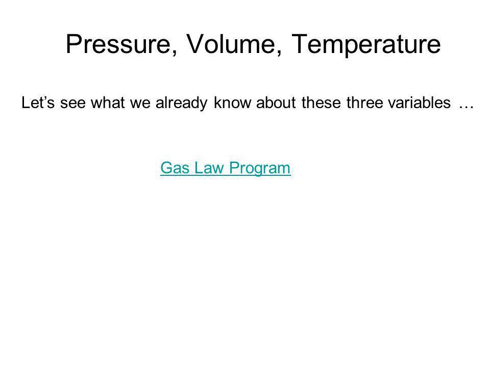 Pressure, Volume, Temperature