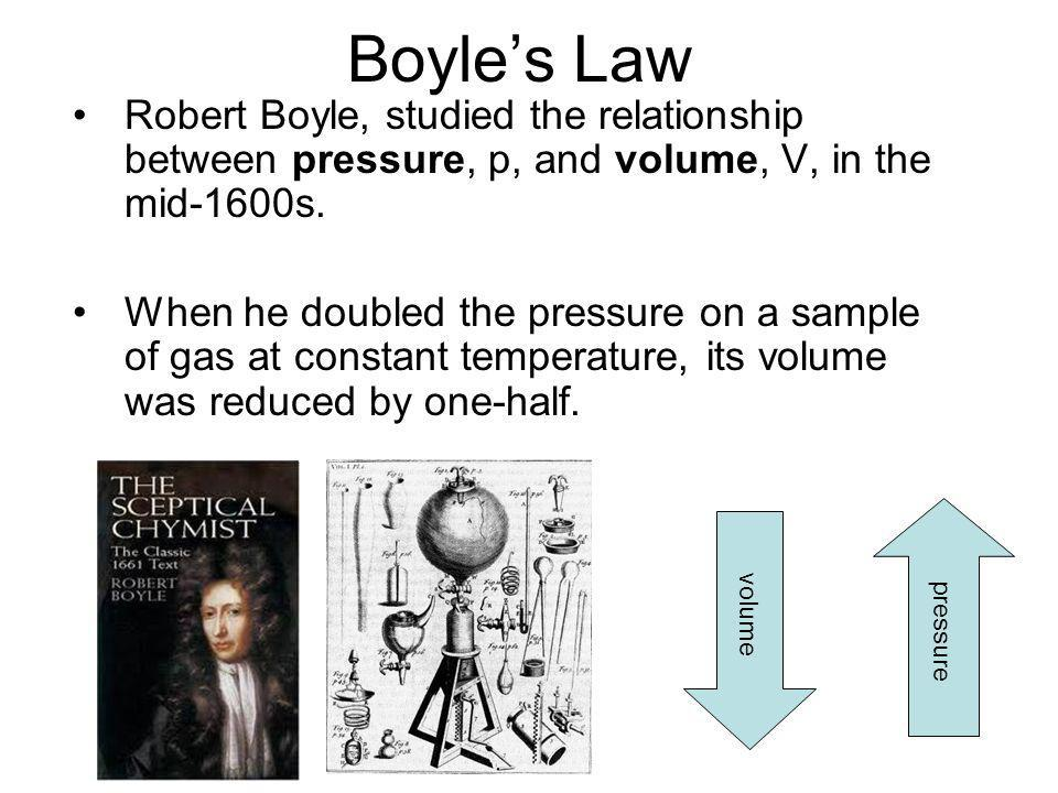 Boyle's Law Robert Boyle, studied the relationship between pressure, p, and volume, V, in the mid-1600s.