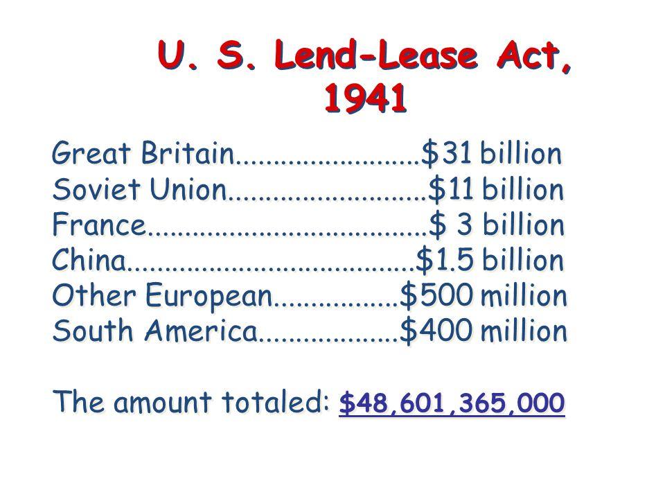 U. S. Lend-Lease Act, 1941