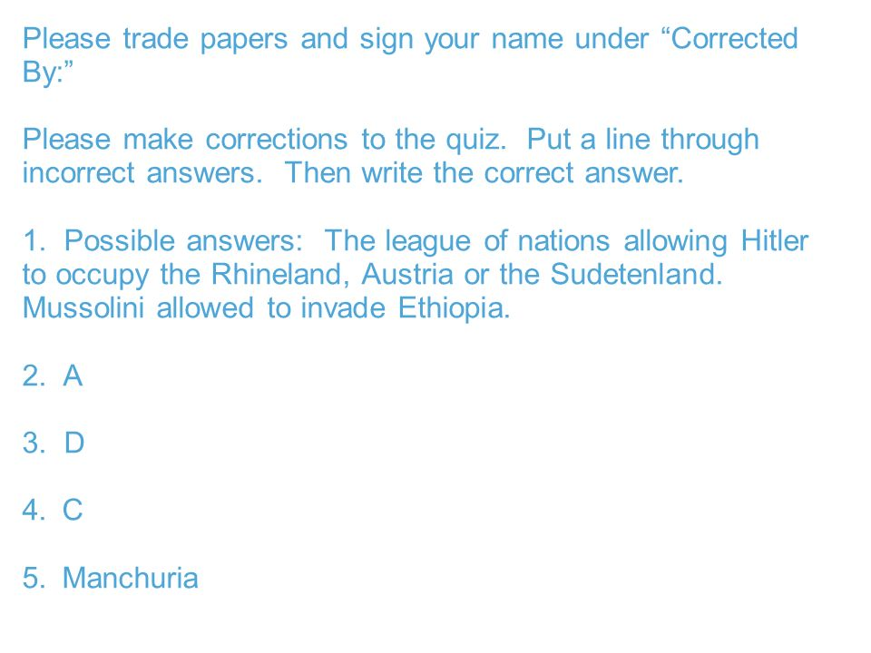 Please trade papers and sign your name under Corrected By: