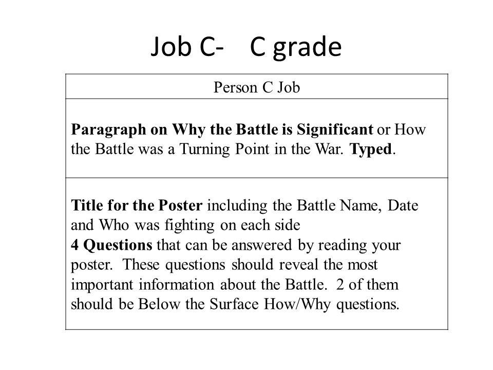 Job C- C grade Person C Job