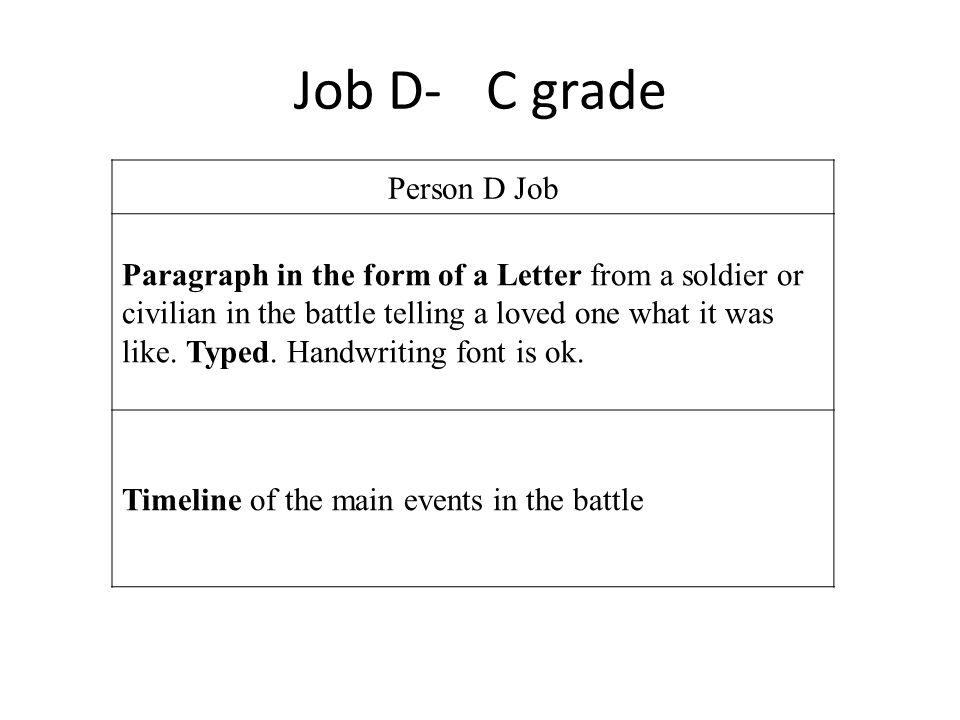 Job D- C grade Person D Job