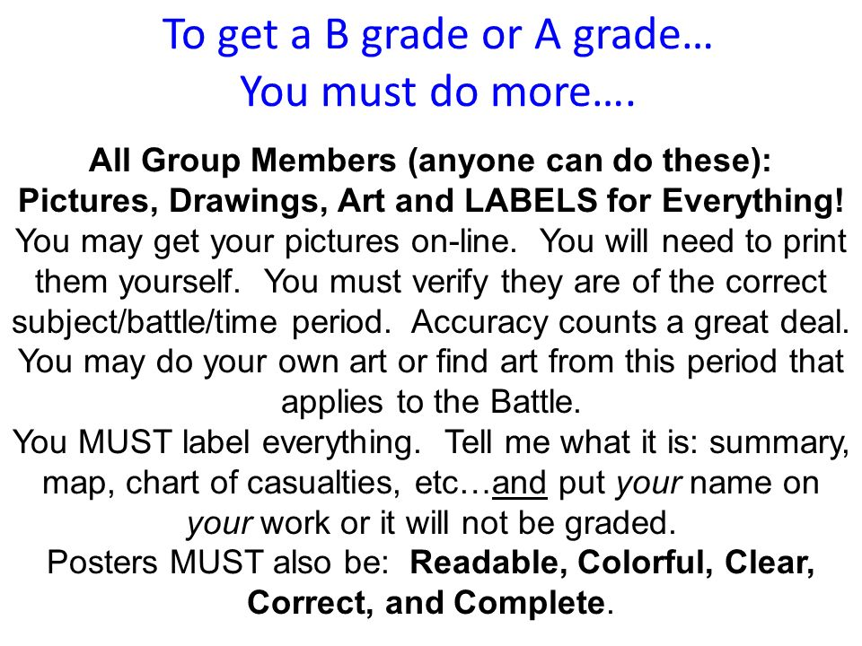 To get a B grade or A grade… You must do more….