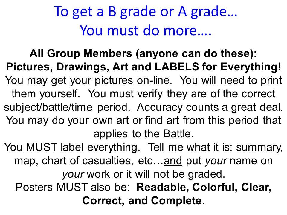 To get a B grade or A grade… You must do more….