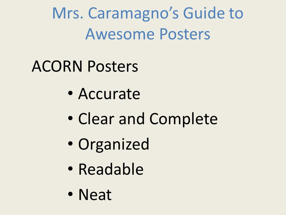 Mrs. Caramagno's Guide to Awesome Posters