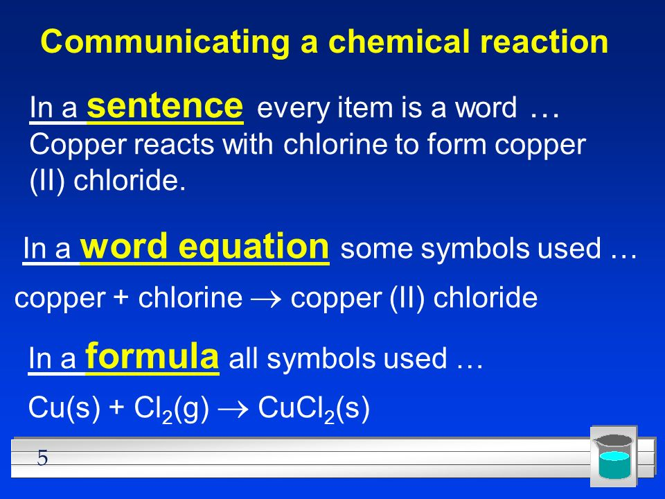 Communicating a chemical reaction