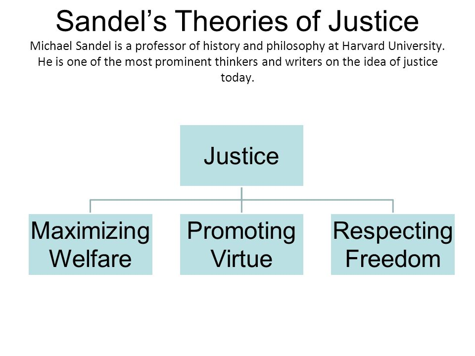 Sandel's Theories of Justice Michael Sandel is a professor of history and philosophy at Harvard University. He is one of the most prominent thinkers and writers on the idea of justice today.