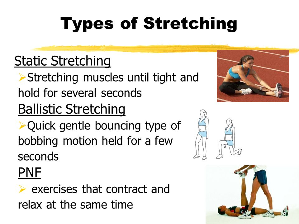 Types of Stretching Static Stretching Ballistic Stretching PNF