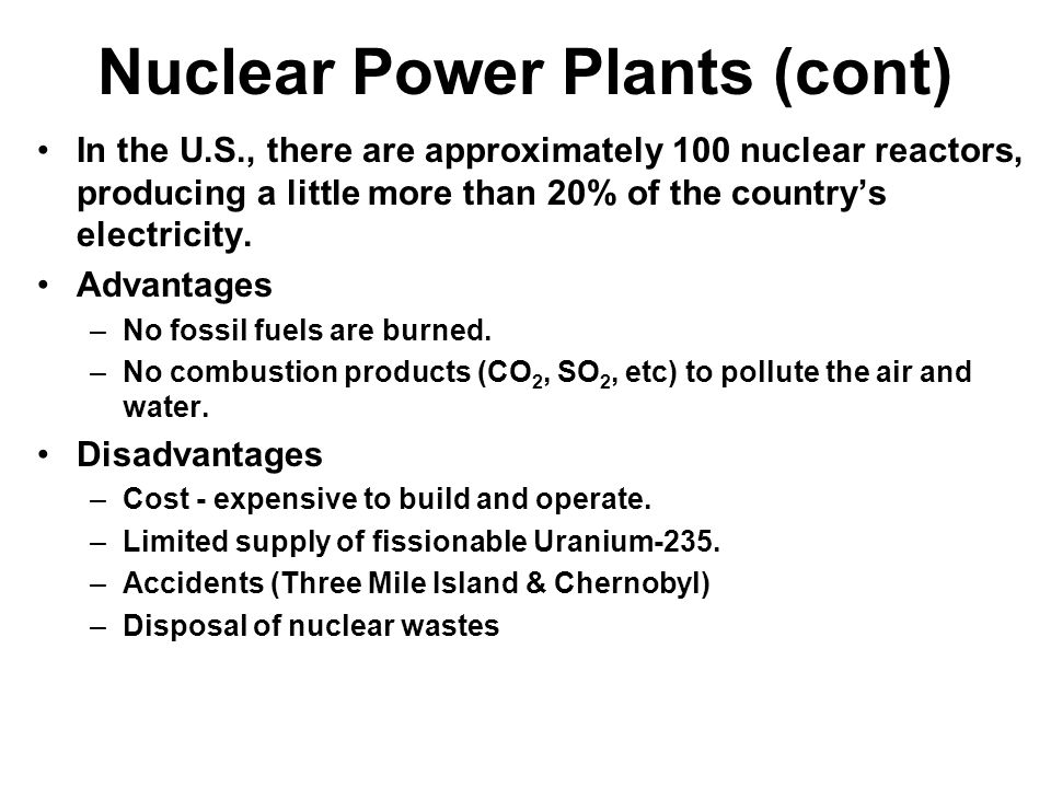 Nuclear Power Plants (cont)