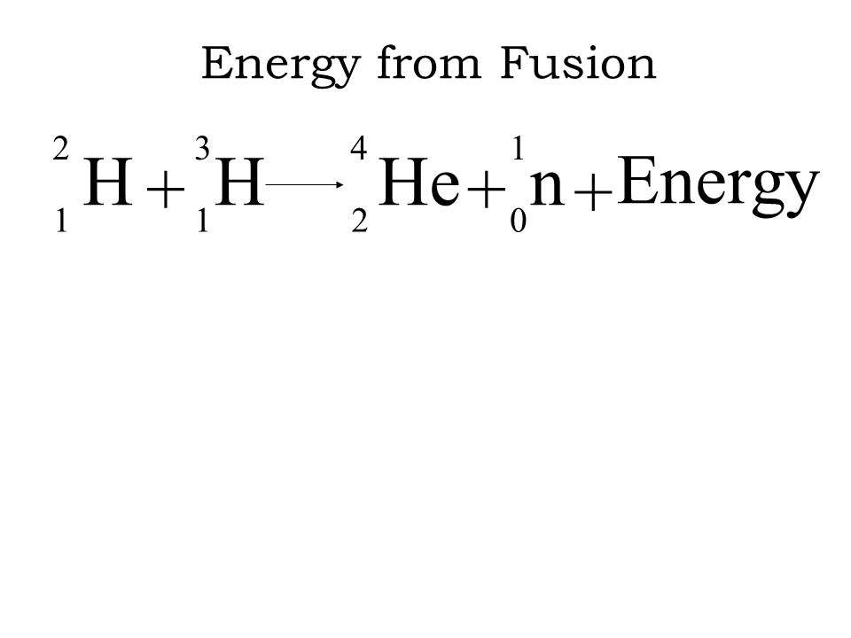 Energy from Fusion H 2 1 + He 4 n 3 Energy