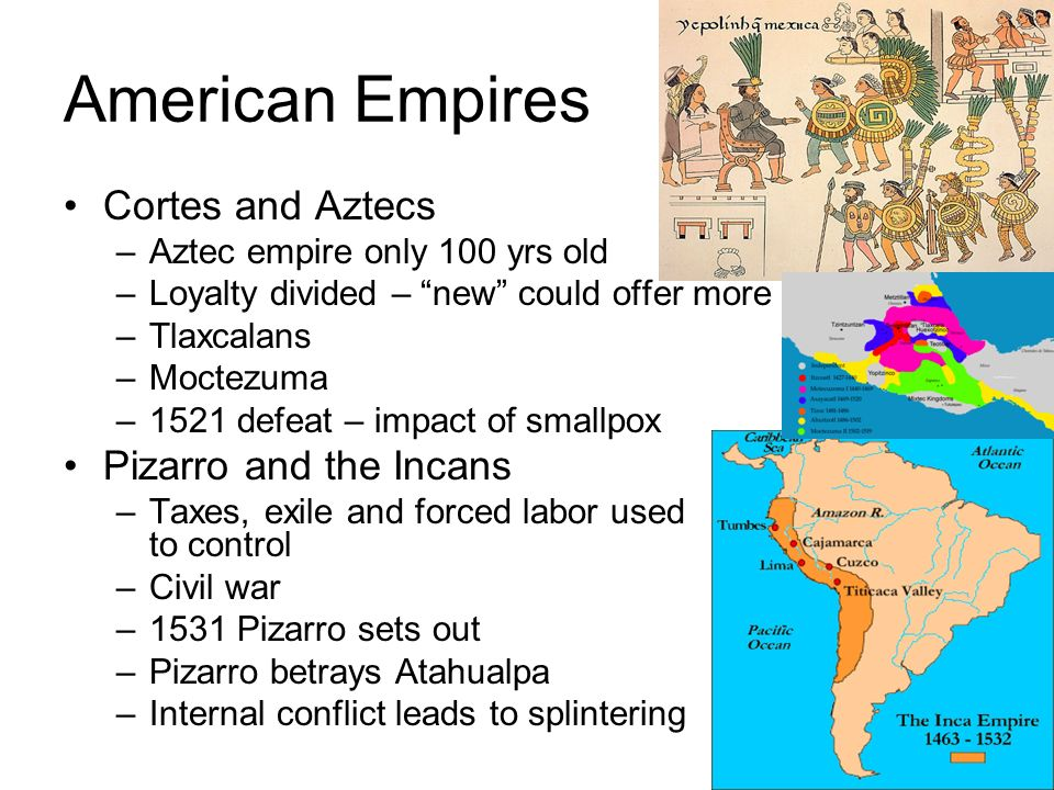 American Empires Cortes and Aztecs Pizarro and the Incans