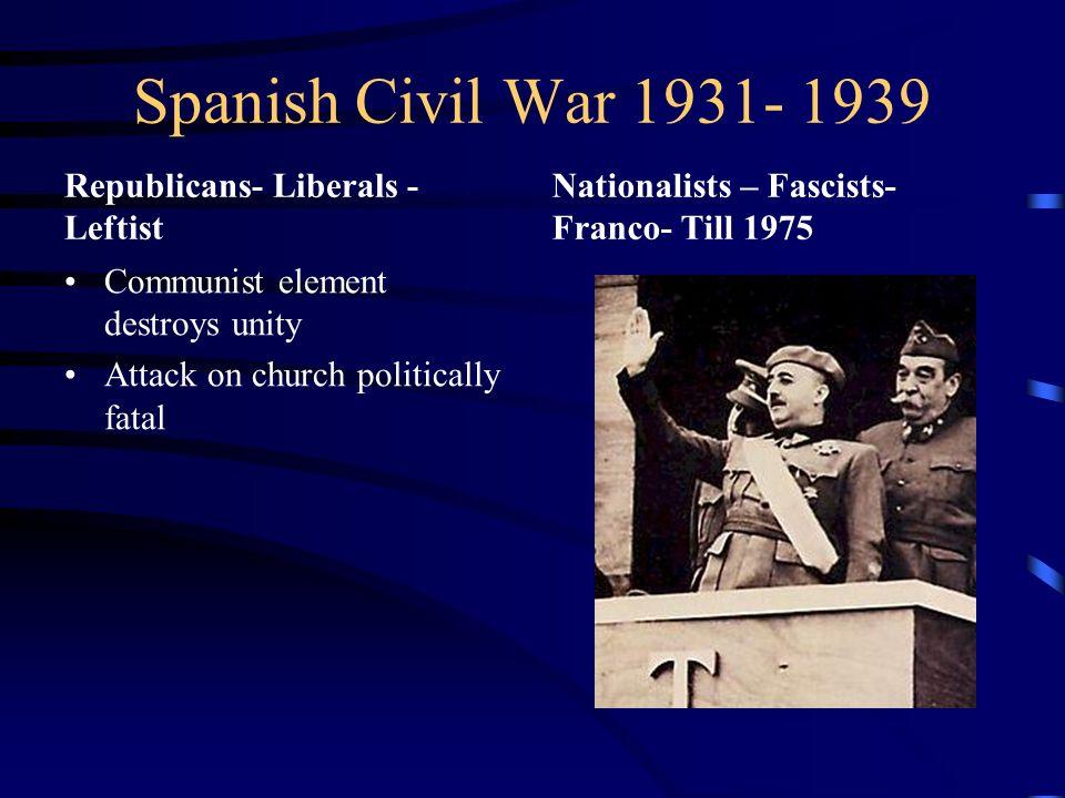 Spanish Civil War 1931- 1939 Republicans- Liberals - Leftist