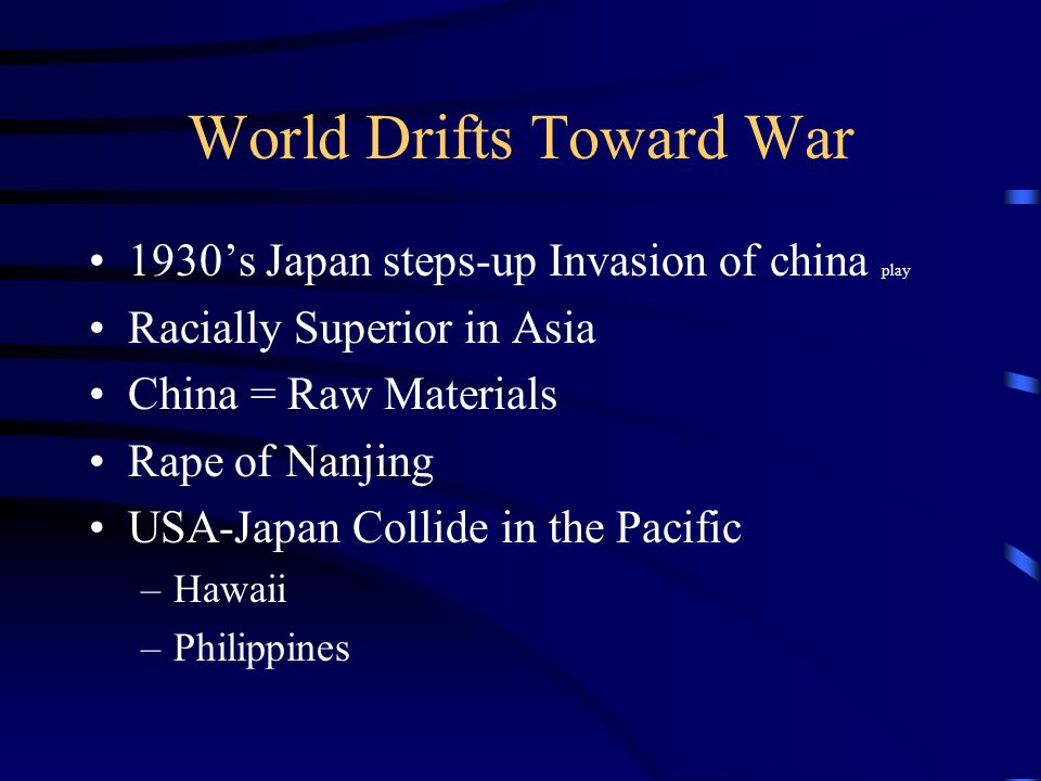 World Drifts Toward War