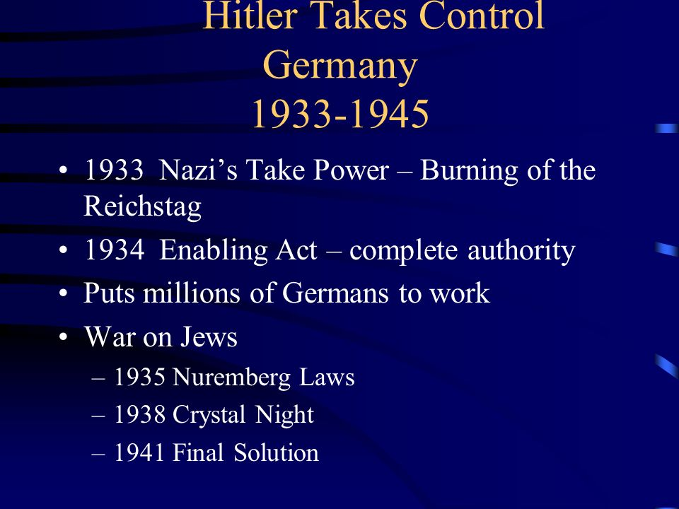 Hitler Takes Control Germany 1933-1945
