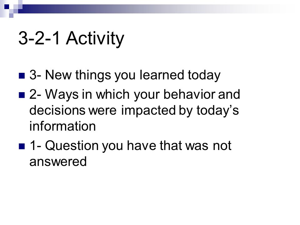3-2-1 Activity 3- New things you learned today