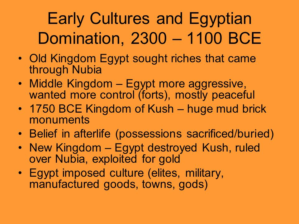 Early Cultures and Egyptian Domination, 2300 – 1100 BCE
