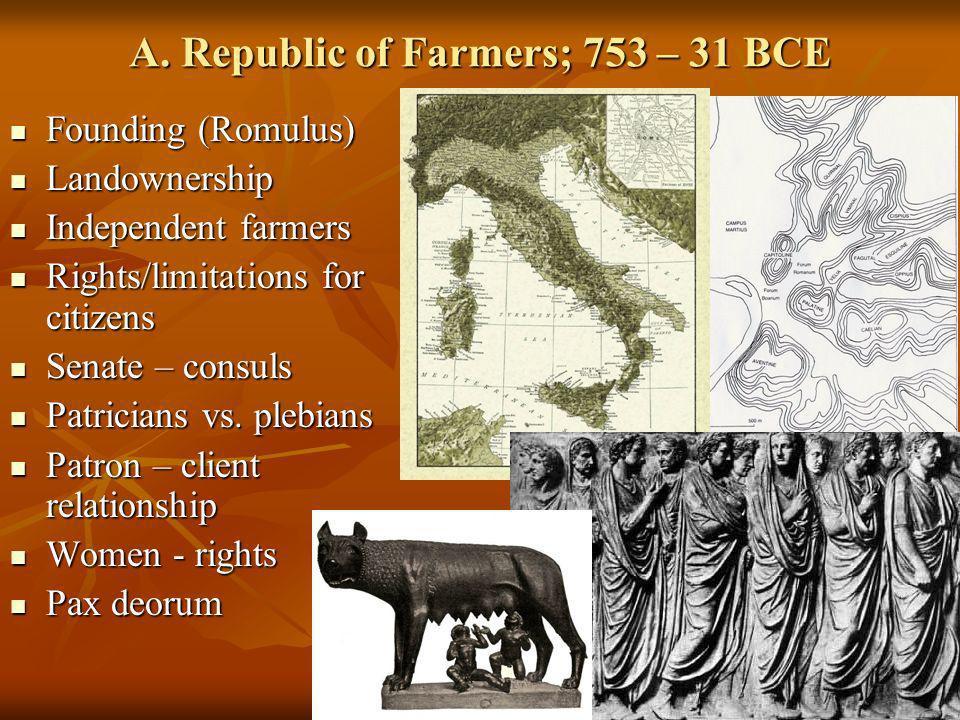 A. Republic of Farmers; 753 – 31 BCE