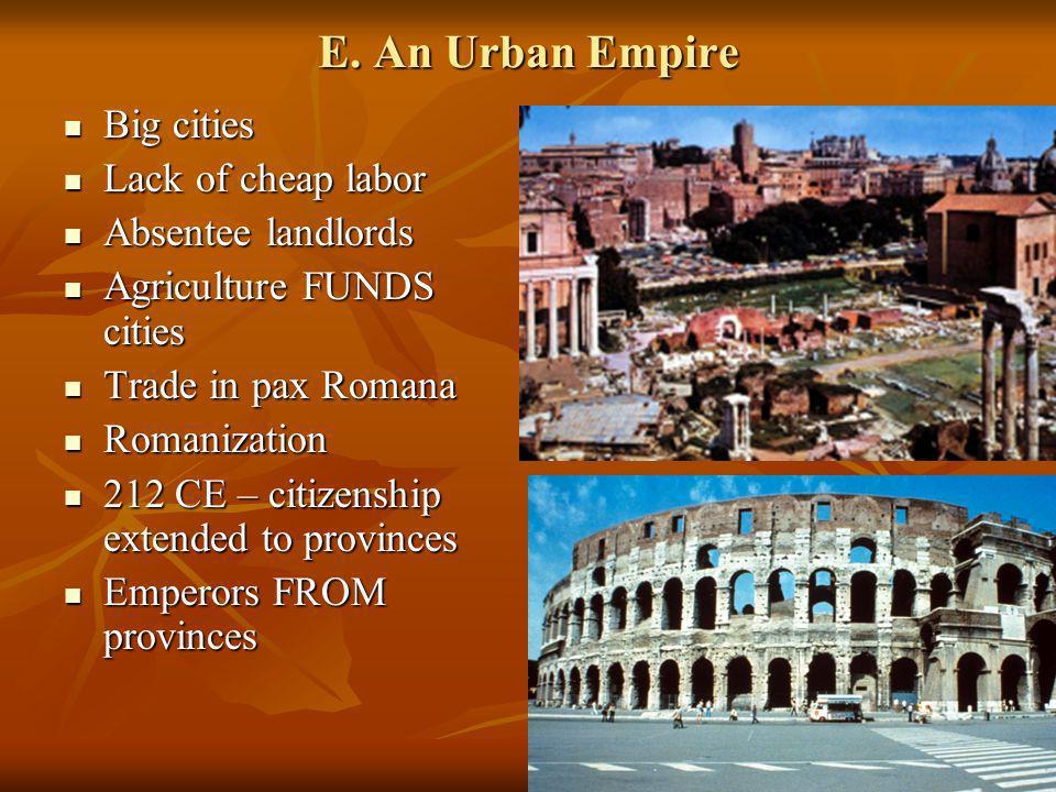 E. An Urban Empire Big cities Lack of cheap labor Absentee landlords