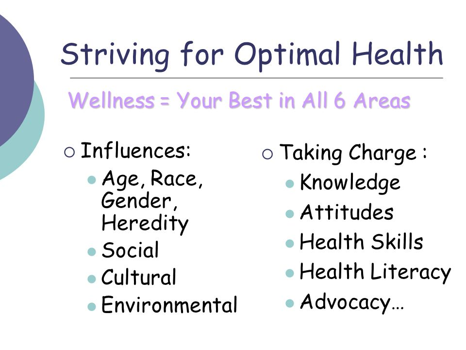 Striving for Optimal Health
