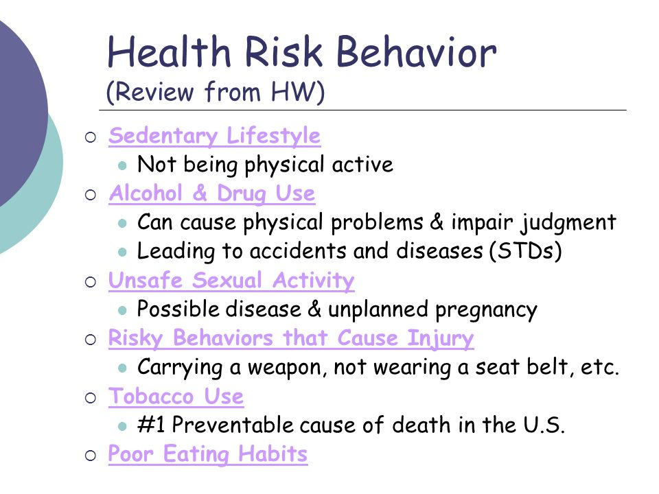 Health Risk Behavior (Review from HW)