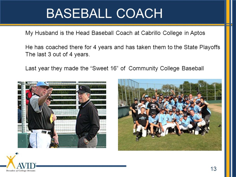 BASEBALL COACH My Husband is the Head Baseball Coach at Cabrillo College in Aptos.