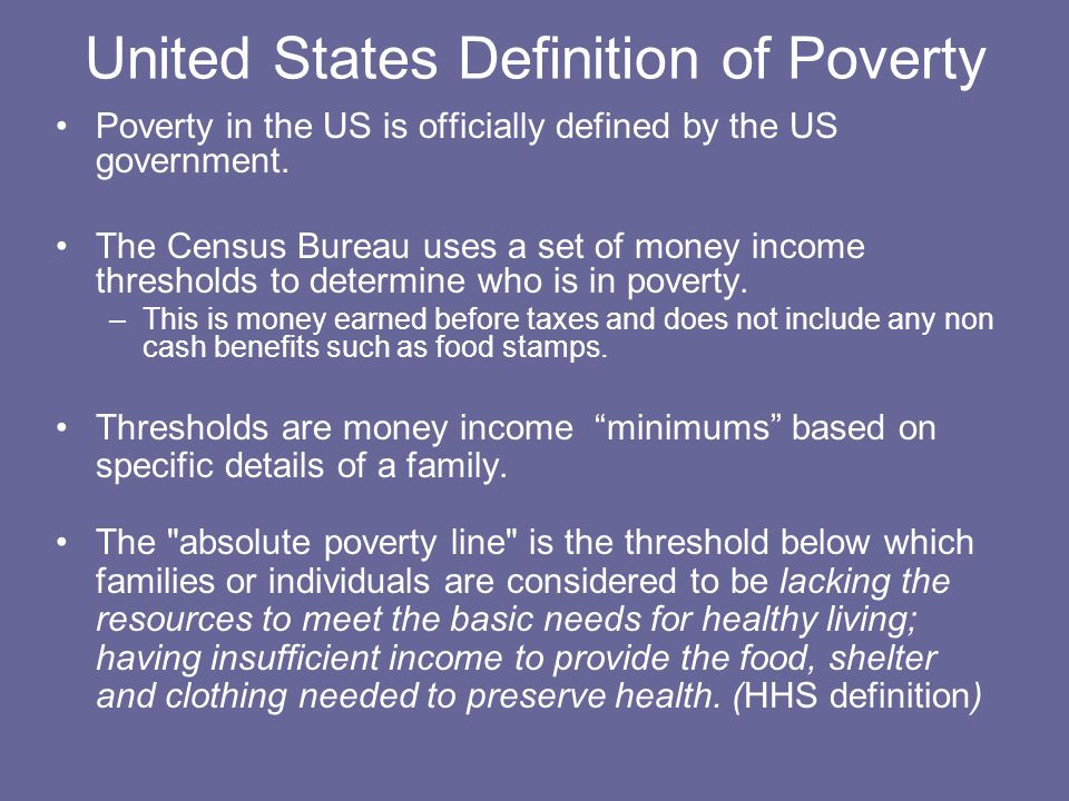 United States Definition of Poverty