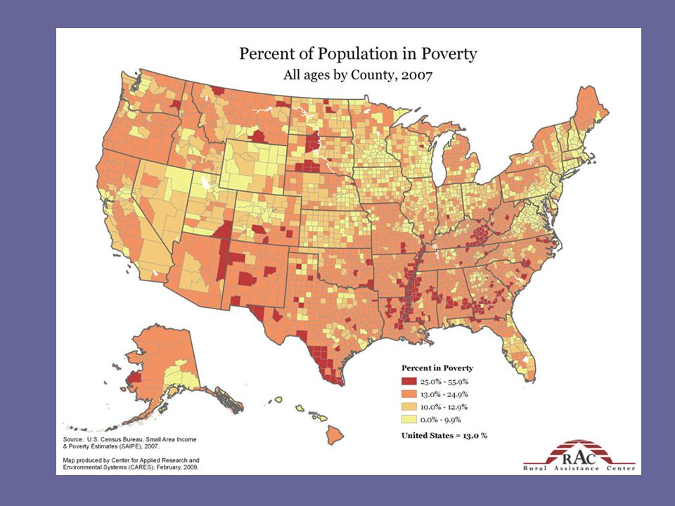 Many of the counties in the western states with the highest percentages of poverty match up with the location of Native American reservations.