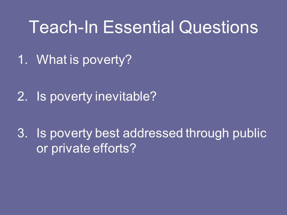 Teach-In Essential Questions