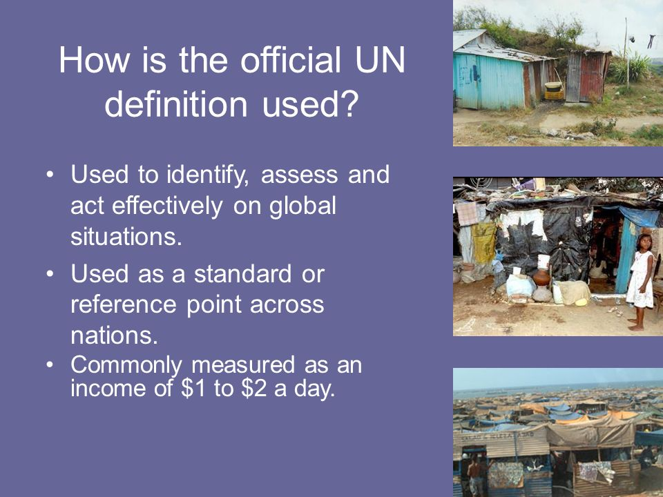 How is the official UN definition used