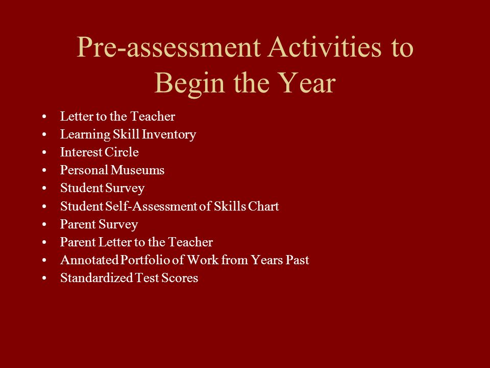 Pre-assessment Activities to Begin the Year