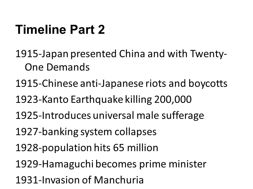 Timeline Part Japan presented China and with Twenty-One Demands
