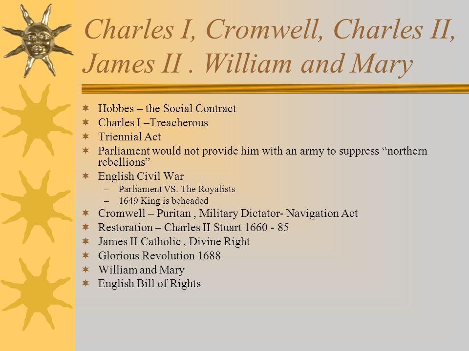 Charles I, Cromwell, Charles II, James II . William and Mary