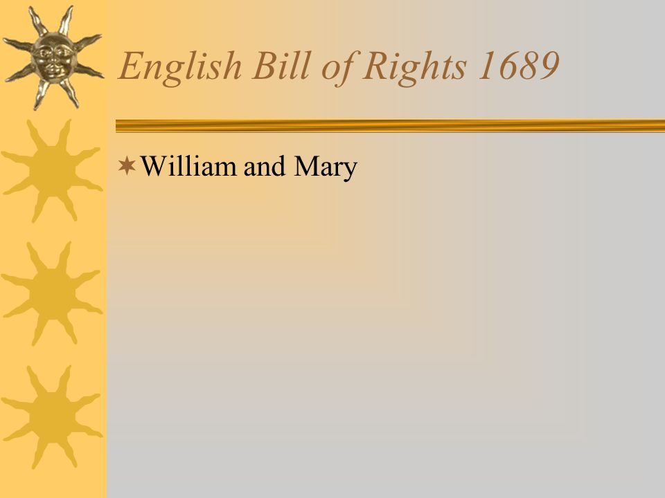 English Bill of Rights 1689 William and Mary